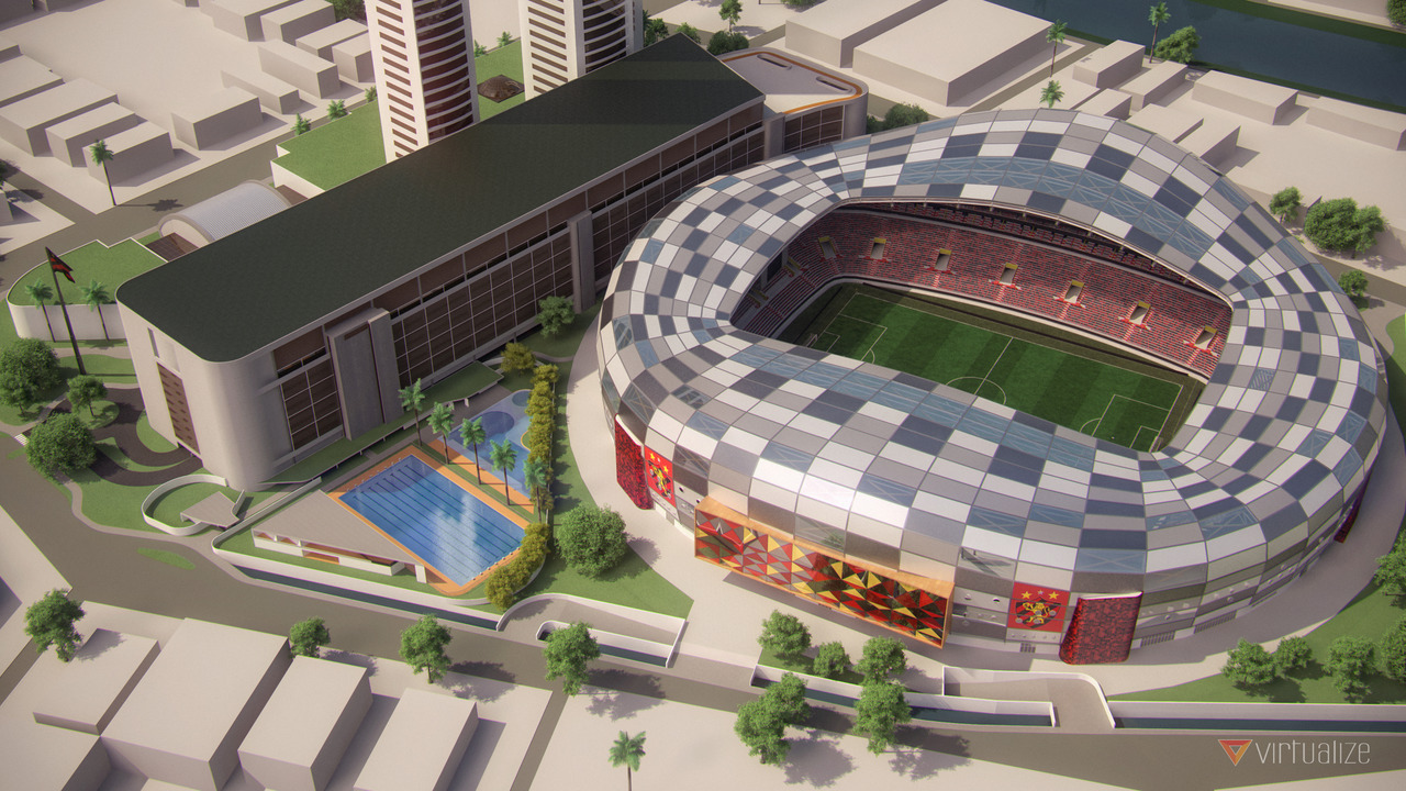 Imagem externa do novo complexo esportivo e comercial do Sport Club do Recife - VIRTUALIZE External image of Sport Club do Recife's new sports and commercial facilities - VIRTUALIZE