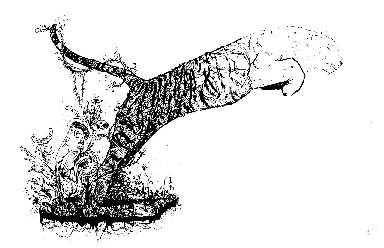 Throwback.  2010 - Save the Tigers Illustration.  A conceptual illustration showing a Tiger leap into the future and slowly disappearing. The entire tiger population is dropping at an alarming rate. Now only 3,000 are living in the entire world. Help save the tigers before it's too late. Twitter | Tumblr | Pinterest | LInkedIn | Society6 | Redbubble | See.Me