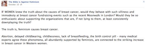 "choosechoice:  stfu-theists:  ""Feminism causes breast cancer"".  So much stupid… it hurtssss  Yes the secret goal of feminism is to give everyone breast cancer. You found us out. Good job."