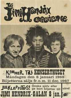 Swedish promotional flyer Jimi Hendrix Experience, Konserthuset, Stockholm, Wednesday 8th January, 1968