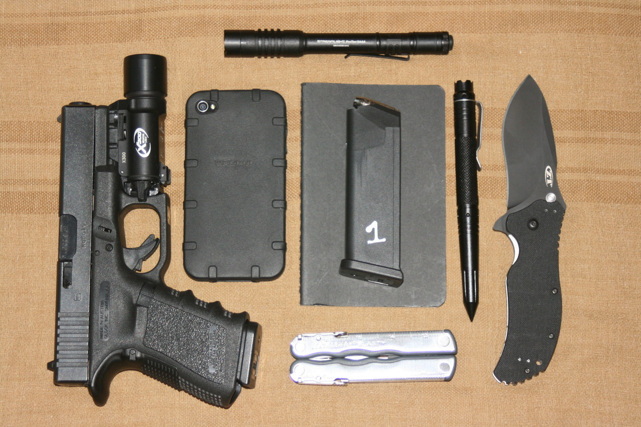 CCW EDC Every Day Carry Submitted By: 875fps Glock 19 w/ X300 iPhone 4 with Magpul Executive Field Case - Purchase on Amazon Streamlight ProTac 2AAA - Purchase on Amazon Moleskin Notebook - Purchase on Amazon Extra Glock Magazine Drago Gear I99-X tactical pen - Learn More Zero Tolerance 0350 - Purchase on Amazon Leatherman Blast - Purchase on Amazon