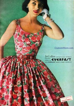 theniftyfifties:  Summer dress fashion by Jo Collins, 1958.