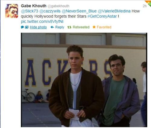 Tweet from Corey's Just one of the Girls co-star Gabe Khouth