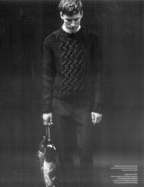 dudesthatknit:  Knit Inspiration: Unknown. This guy should not be sad about wearing such a great sweater.
