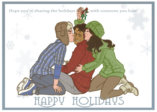 palaceofposey:  Holiday card finally finished! (They're channeling Power Puff Girls a little with that color scheme…let's say it was intentional.) (As always, if you're interested in buying you're own 5x7 card, it's here in my Etsy shop!)