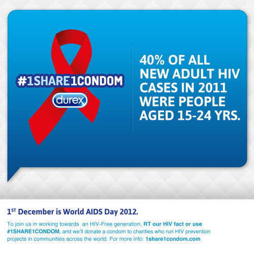 1share1condom:  40% of all new adult HIV case in 2011 were people aged 15-24 years. Go to 1share1condom.com and help us donate 2.5 million condoms. 1 HIV message shared = 1 condom donated to help beat HIV With the #1Share1Condom campaign we're raising awareness of HIV and AIDS globally. On behalf of every person who gets involved by sharing an HIV message, Durex will donate a condom to an HIV prevention project. These projects are active in local communities across the world and we are delighted to join forces with them to help achieve an HIV-Free generation.
