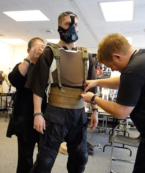 charlidos:  tomhardyvariations:  Tom at an early fitting for his Bane costume. I think he was filming Lawless at the time. ?? source: thefirerises  Wow. That looks … odd. I wouldn't have recognised Tom.