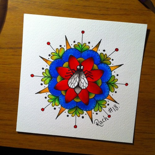 Save the best till last! My fave! #mandala #flower #fly #illustration #painting #dontcopythinkofyourownwork