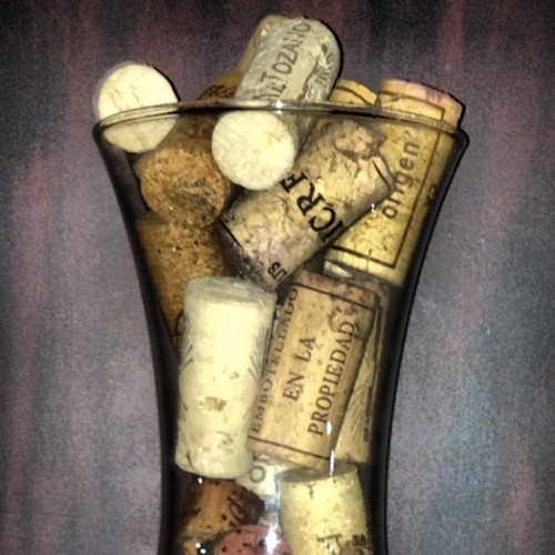 #cork #display on a simple #glass #vase #designsinmyplanet #perspective  (at Citrus Bar)