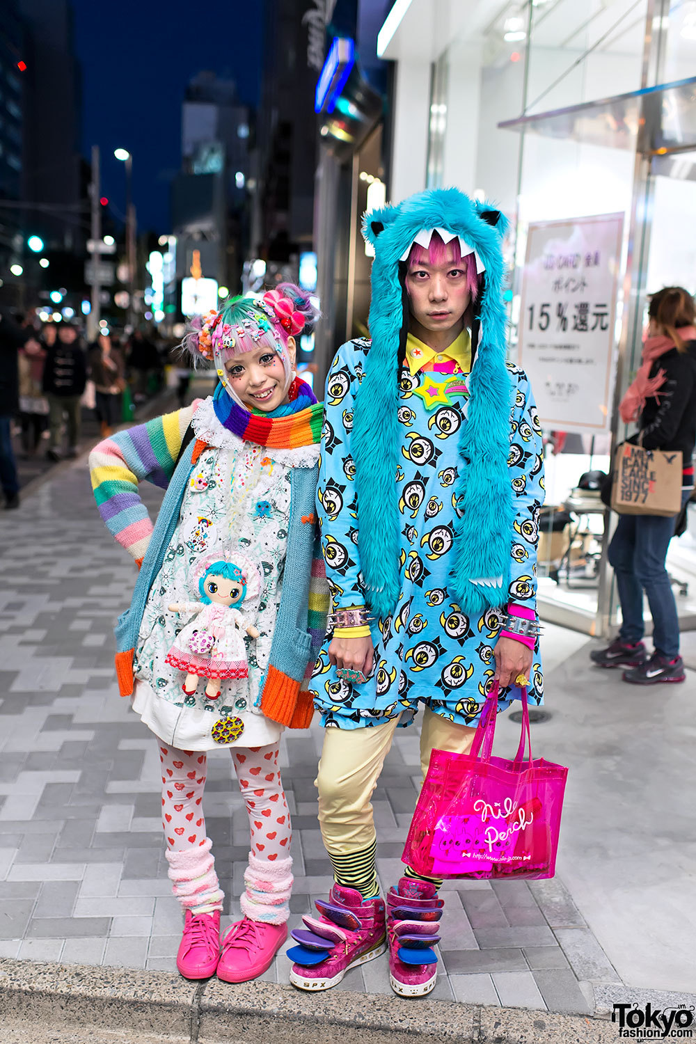 tokyo-fashion:  Kurebayashi & Junnyan lighting up the Harajuku night with their super colorful fashion & hair!