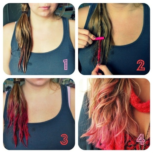 californiakissesbitch:   Hot Pink Tips Hair Tutorial