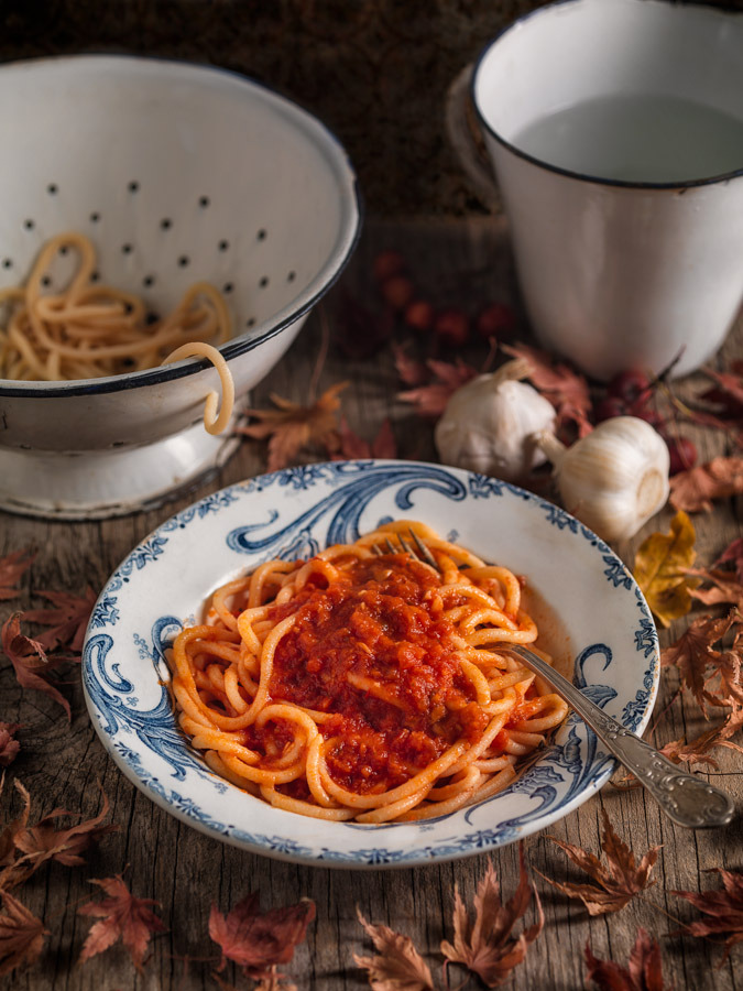 Pici all'Aglione (handmade Tuscan pasta with garlic flavored tomato sauce)
