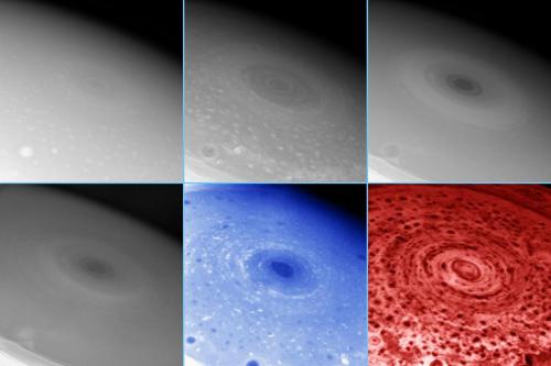 A hurricane-like storm on the planet Saturn showing a well defined eye. The images were taken at multiple wavelengths using the Imaging Science Subsystem and Visual and Infrared Mapping Spectrometer of the Cassini spacecraft. (source)
