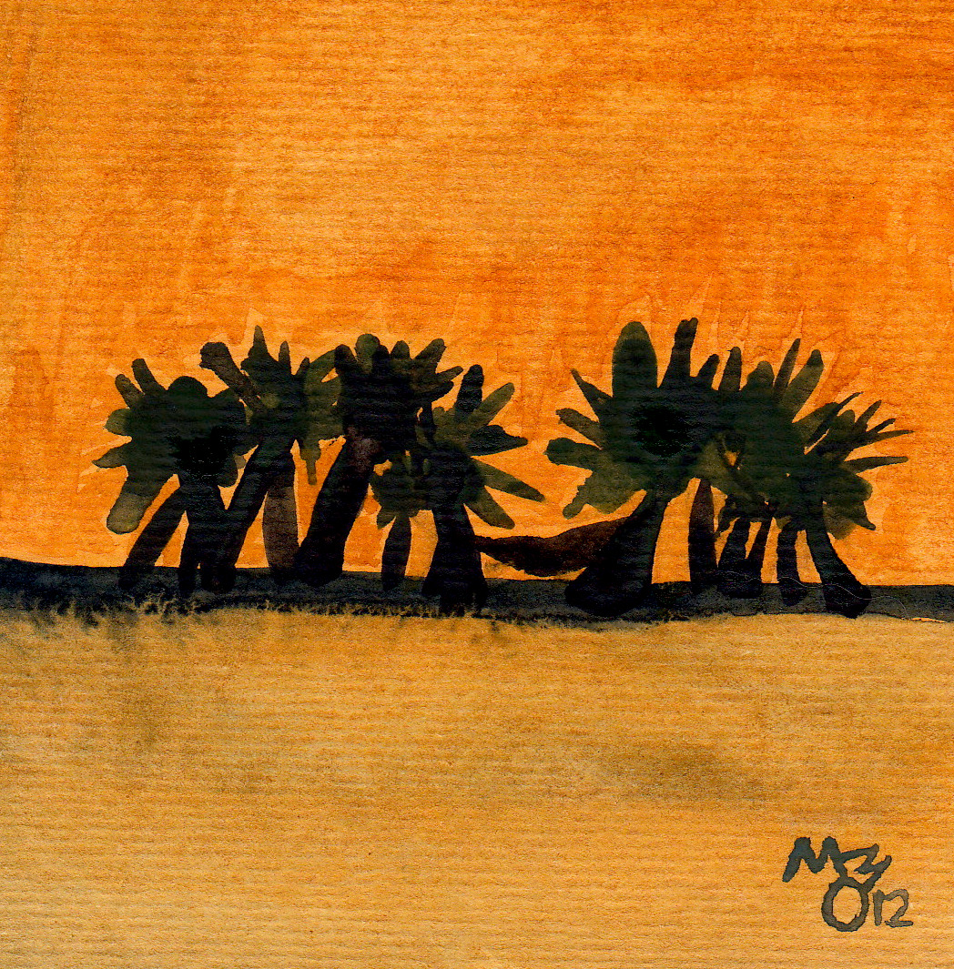 "Orange Wash #6 - Small Beach Scene  4""x4"""