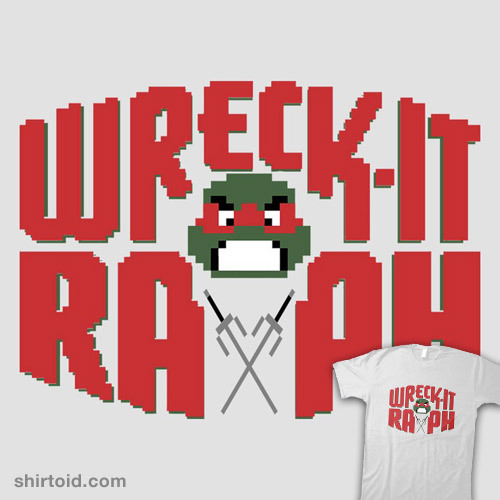 inflatedmoose:  shirtoid:  Wreck-It Raph by thedavelosso is $10 today only (11/29) at RIPT Apparel  #inflatedmoose #toni needs this YES YES  Nope. Sorry. Can't do it. The sai do not fit the pixelated motif correctly, so this tee-shirt is wrong.