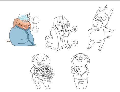 doing some pig emojis at the studio to help out with some concept thing i'm given pretty much free reign on what i do with this, but i'm trying to hit some sort of style