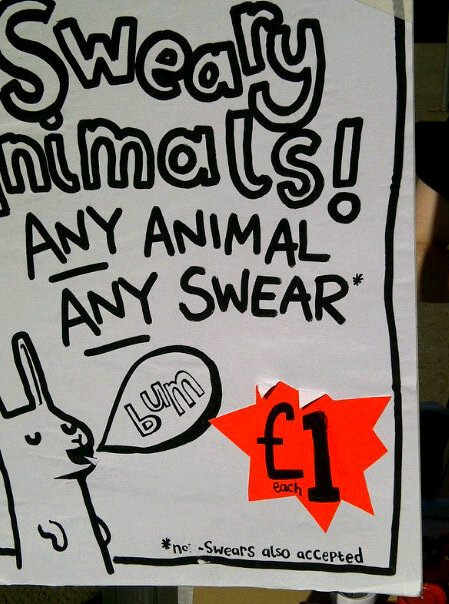 sweary animals by levfest on Flickr.  by Laurie Pink at lauriepink.com