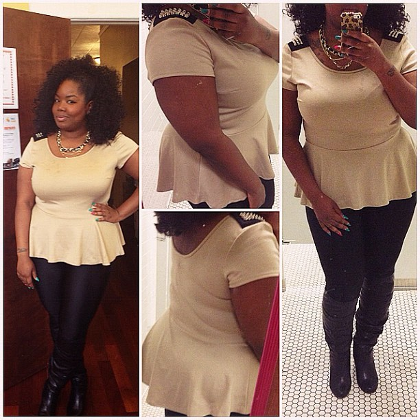 "fffab:  mseverything87:  Ootd-Ladies remember the studded peplum top I had for sale last week Im in Luv wit it….The fit is amazing ..""who doesn't Luv peplum its very curvy friendly….😍  A LOT OF DOPE ISH ON HER SITE …. DONT MISS OUT"