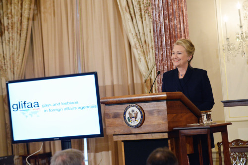 secretaryofawesome:  Secretary Clinton marked the progress made to end discrimination of gay and lesbian employees of foreign affairs agencies at the 20th Anniversary Celebration of GLIFFA at the State Department, November 28th. Article here. Original photograph from State Department.