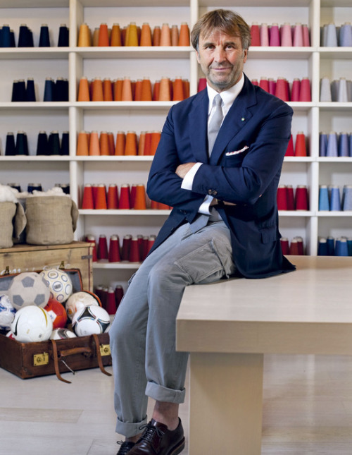Brunello Cucinelli:  My style icon is a theoretical mix of three men: the Prince of Wales, a man who loves a good jacket and has such amazing manners; John F Kennedy, whose Bostonian style was very appealing; and Gianni Agnelli, who was the master of individual style – a white sweater round the shoulders of a navy polo-shirt, a shirt and round-necked cashmere sweater with a tie on top, the watch outside the cuff. I never copy such details because they were his alone. All these icons are mature – the young are into fashion, not timeless style.   My personal style signifier is my own version of the suit – a very fitted jacket, which I would call one-and-a-half breasted because a double-breasted jacket is wider cut, in lightweight cashmere and lightly structured with typically Italian details like a four-button cuff, two undone. The back is also very fitted – I believe a man's jacket should show the shape of his chest and his bottom. I have matching trousers for formal occasions but mostly I wear a jacket with cargo pants. I always wear a white button-down shirt with the collar buttons undone, a plain cashmere tie and silk pocket handkerchief.   My favourite website? I don't have one, as I rarely use the internet. I prefer personal contact and recommendations.   Source: howtospendit.ft.com