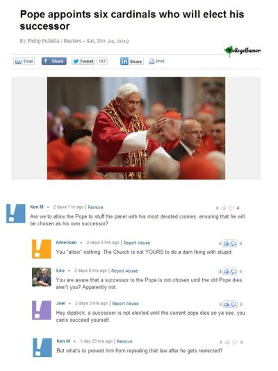 collegehumor:    See more of Ken M's views here.    WOW…. Some people……… Need to be highfived. In the face. With a chair. That has steel spikes. Held by Chuck Norris.