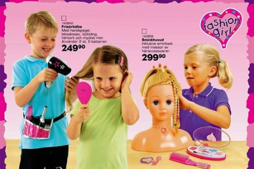 "whenrobotsreproduce:  Toys ""R"" Us Licensee Offers Gender-Neutral Toy Catalog in Sweden A saleswoman said she hasn't seen much difference in store displays but noted employees now are trained to avoid stereotypes when talking to customers. ""If someone asks for a present for a 5-year-old girl, we don't automatically take them to the dolls section,"" she said. ""Instead, we ask them what her interests are."""