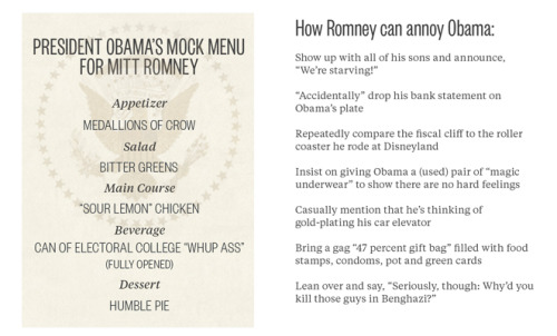 Today's awkward lunch between President Obama and Mitt Romney would be a lot more interesting if they pulled these passive-aggressive moves.