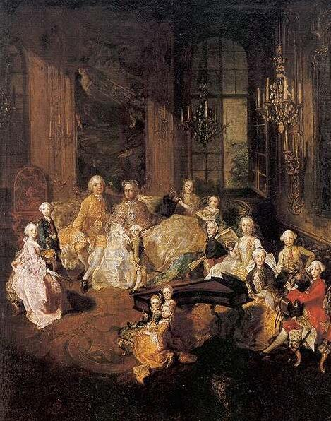 The most complete portrait of the family of Maria Theresa and Francis I, painted by Martin van Meytens in 1758. All of their children are depicted, save for the three daughters who all passed away before the age of three.