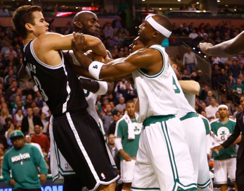 siphotos:  It was Fight Night in Brooklyn on Wednesday as Rajon Rondo and Kris Humphries got into it after the Nets forward knocked down Celtics center Kevin Garnett. The fight motivated the Nets, who went on to dominate Boston in a 95-83 victory. (Jeff Wickerham/Getty Images) VIDEO: Watch the Celtics-Nets brawl