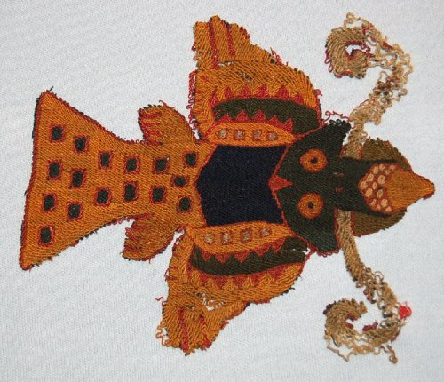 ancientpeoples:  Textile cut out of a Bird or Fish AD 1-500 Nasca Culture (Source: The British Museum)