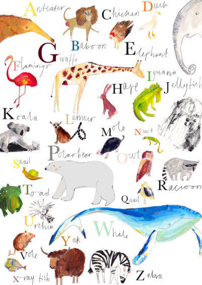 AZ Animal Wall Chart Limited Edition Print (by FayeBradleyShop)