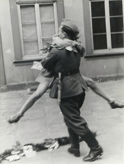 A soldier comes home from war, 1940s