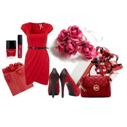 Fashion Red Christmas by mariaplb featuring a michael kors satchelLipsy belted dress, $77 / Reiss platform high heels / MICHAEL Michael Kors michael kors satchel / Marc Jacobs  perfume / Butter London nail lacquer / Red Gift Box Candle Holder | StoreName, $18 / Red Nordic Snowflake Gift Wrap / Red Roses Ring Bouquet Silver Plated Romantic by LadyRebelDesigns