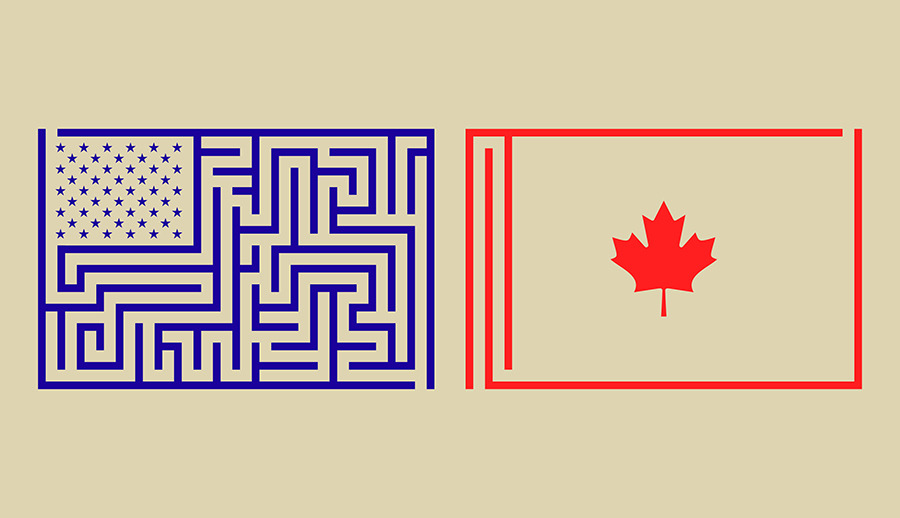 For inspiration, Americans need look no farther than Canada. (Illustration by Dante Hong Carlos | Op-Ed by Shikha Dalmia)