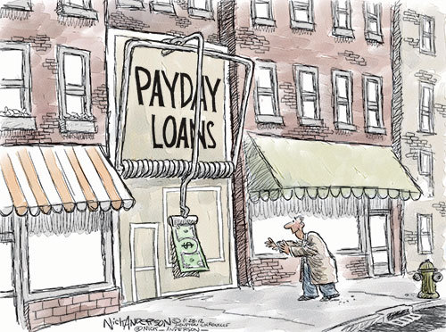 "Nick Anderson, Houston Chronicle.  The payday loan industry — the only people Clinton's ""welfare reform"" ever helped. In fact, it pretty much created that industry."