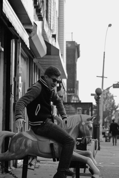 Jeff Rides a Pony in his V Serious Varsity Jacket…East New York, Brooklyn (via Christopher Fenimore)