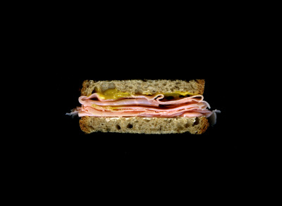 James Beard's Ham Sandwich: Ham, Mustard, Butter, On Rye Bread. See it on display at The James Beard House through December 2012