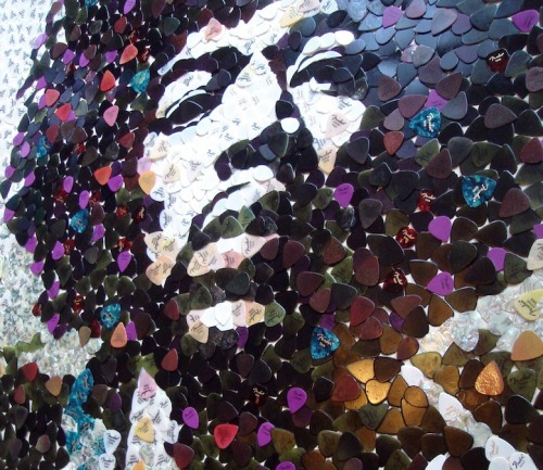 Portrait of Jimi Hendrix made out of 5000 guitar picks by Ed Chapman