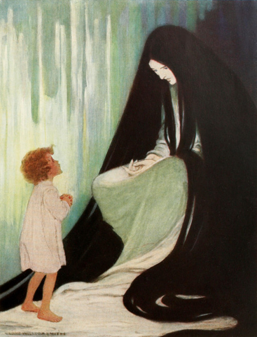 "necroluste:  JESSIE WILLCOX SMITH, ""Are you ill, dear North Wind?"", from  At the Back of the North Wind 1919"