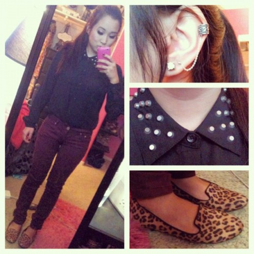 Rockin' the pony 🐴 #ootd #fashion #personal #style #studs #cheetah #ilikeearcuffs