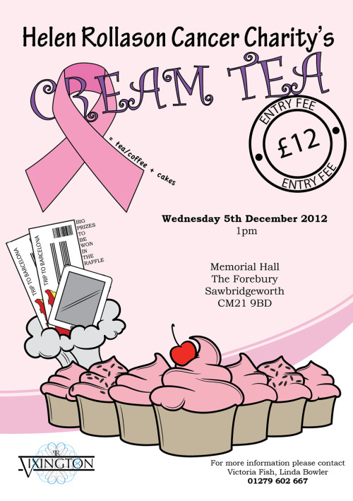 "The finished flyer I designed for the event ""Helen Rollason Cancer Charity Cream Tea"""