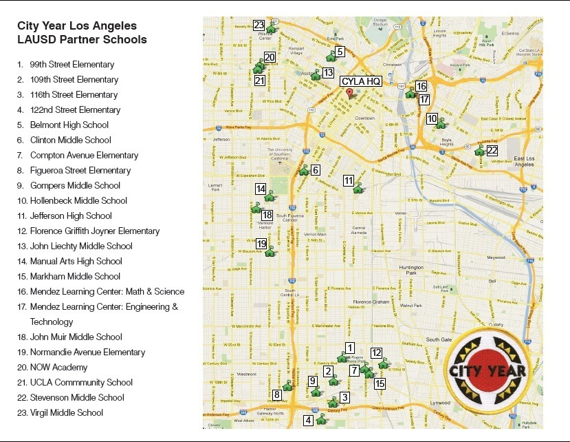 Want to know where City Year Los Angeles serves?   Check out our school service map above.   **Note: Each year the make-up of our service site differs.  Next year there will most likely be additions and/or changes to our service sites.