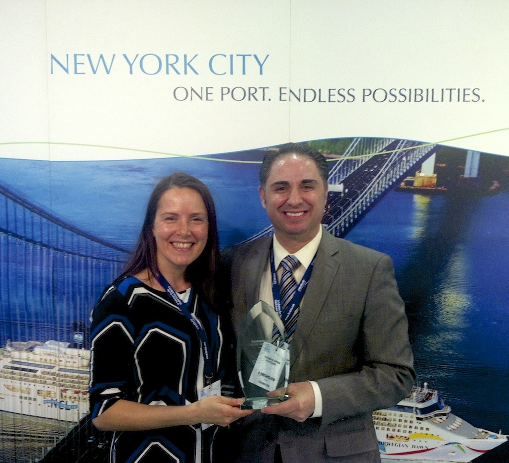 "Congratulations to NYCruise for winning the prestigious ""Port of the Year"" Award at this year's Seatrade Med Cruise Convention in Marseille, France! Learn more about New York City's world-class ship terminals at www.nycruise.com. Photo: NYCEDC's Jennifer Wertz, VP, Marketing (left) and Thomas Spina, VP of Cruise Operations celebrate the win. Photo credit: The Avid Cruiser"
