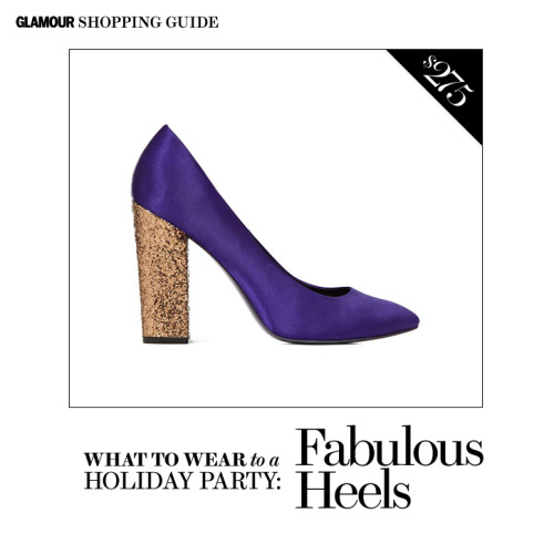 Want to dress up your everyday basics for a holiday party? Add a pair of heels that are just a leeetle too fancy to pull off at the office and you're well on your way. (P.S. For more party dressing ideas, hop on over to Glamour.com.)  Yves Glitter-Heel Court Shoes, $275, reiss.com