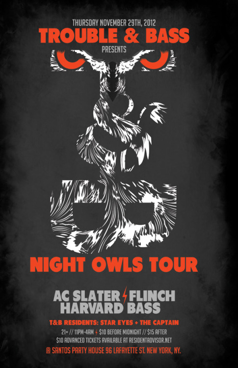 Tonight in NYC . Trouble & Bass presents Night Owls Tour
