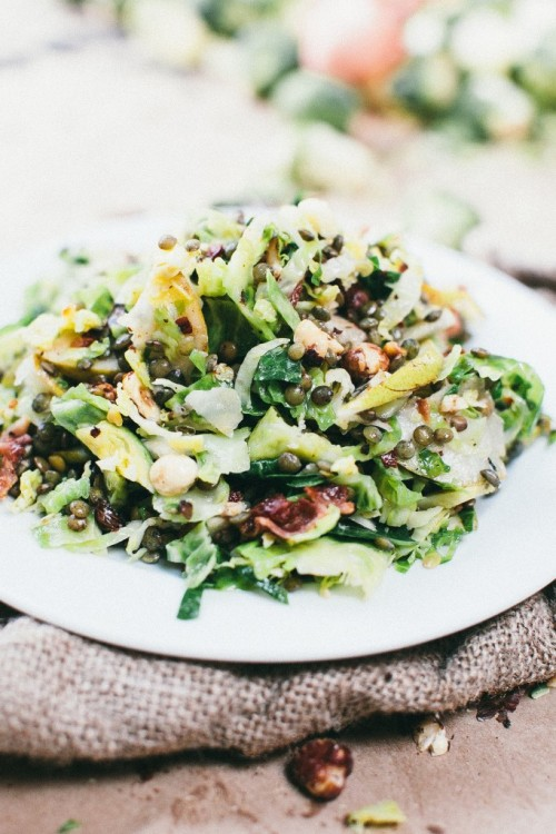 shaved brussels sprouts, lentils, bacon and pear salad from Happy Yolks