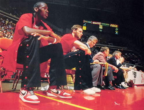 The NBA's Chicago Bulls rookie Michael Jordan wearing the Nike Air Jordan I, 1985, Chicago, Illinois.