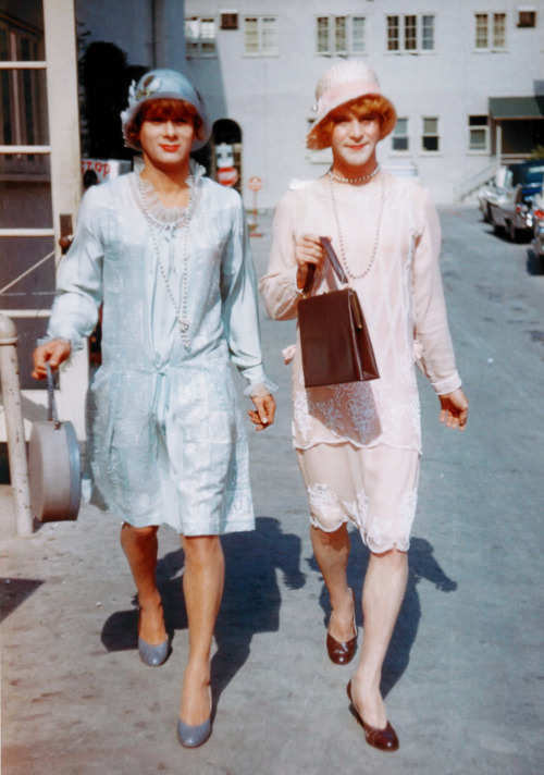 vintagegal:  Tony Curtis and Jack Lemmon on the set of Some Like it Hot (1959)