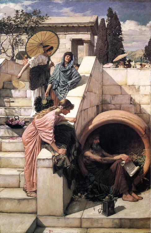 "DiogenesJohn William Waterhouse, 1882  ""When Alexander the Great addressed him with greetings, and asked if he wanted anything, Diogenes replied 'Yes, stand a little out of my sunshine.'""  - From Plutarch, Alexander, 14. Cf. Diogenes Laërtius, vi. 38, Cicero, Tusculan Disputations, v. 32"
