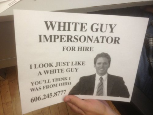White Guy Impersonator The things they can do with make-up these days. Just terrific.